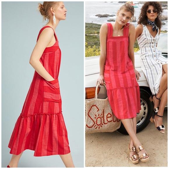 Anthropologie Maeve Red Tonal Summer Dress